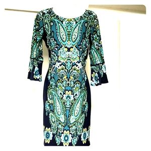 Womens green blue Sheath office dress 3/4 sleeves